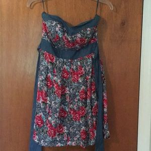 Floral strapless with denim accents